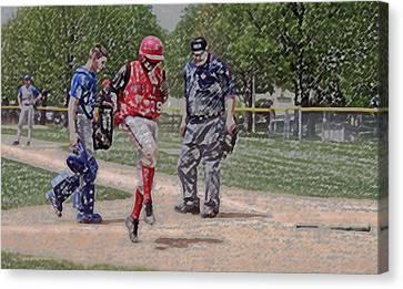 Ouch Baseball Foul Ball Digital Art Canvas Print by Thomas Woolworth