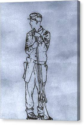 Our Boy In Blue Soldier Sketch Canvas Print by Randy Steele