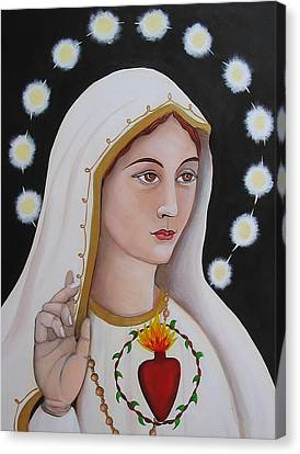 Our Lady Of Fatima Canvas Print by Christina Miller