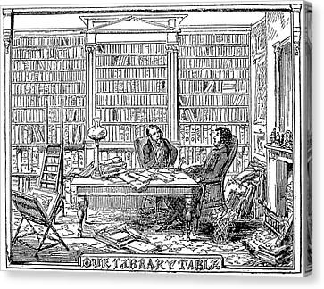 Cartoonist Canvas Print - Our Library Table, 1842 by Granger