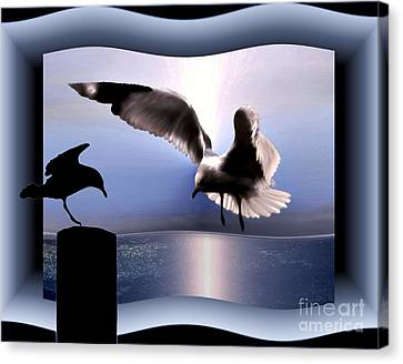 Flying Seagull Canvas Print - Out Of Bounds by Dale   Ford