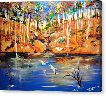 Canvas Print featuring the painting Outback Billabong My Way by Roberto Gagliardi