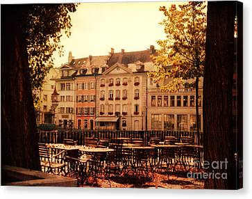 Architectur Canvas Print - Outdoor Cafe In Lucerne Switzerland  by Susanne Van Hulst