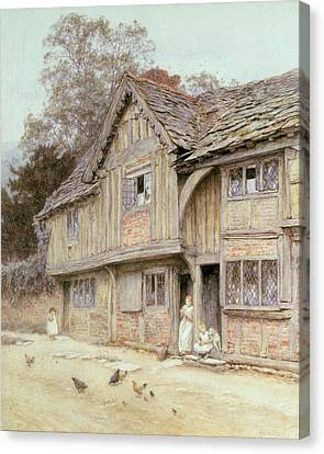 Outside A Timbered Cottage Canvas Print by Helen Allingham