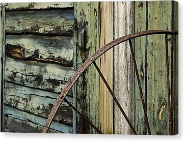 Canvas Print featuring the photograph Outside Of An Old Barn by Nancy De Flon