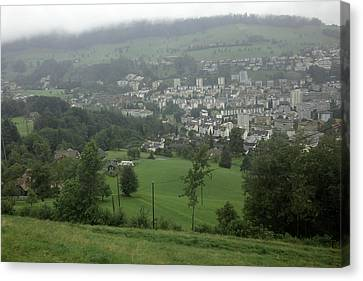 Ovehead View Of Houses From The Gondola Starting At Kriens In Switzerland Canvas Print by Ashish Agarwal