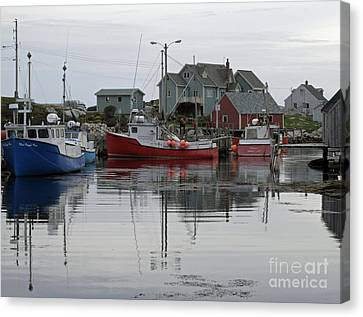 Overcast At Peggy's Cove  Canvas Print by Louise Peardon