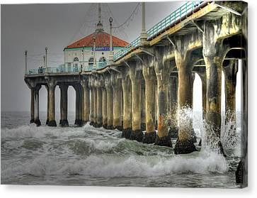 Overcast Manhattan Beach Pier Canvas Print