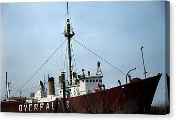 Overfalls Lightship Canvas Print by Skip Willits