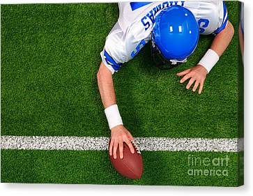 Overhead American Football Player One Handed Touchdown Canvas Print by Richard Thomas