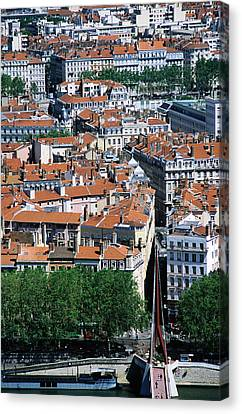 Overhead Of City, Lyon, Rhone-alpes, France, Europe Canvas Print by Glenn Van Der Knijff