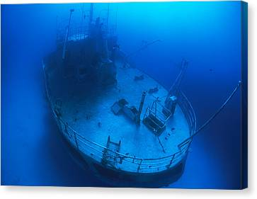 Overhead View Of A Shipwreck On The Sea Canvas Print by Nick Caloyianis