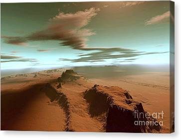 Overhead View Of A Vast Desert Canvas Print by Corey Ford