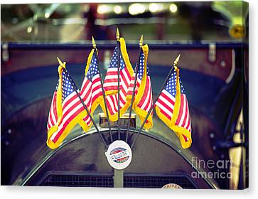 Overland Vintage Car With Flags Canvas Print by Floyd Menezes