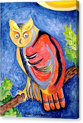 Owl With Attitude Canvas Print by Joan Landry