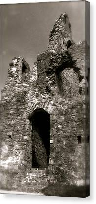 Oystermouth Castle Ruins Detail Canvas Print by John Colley