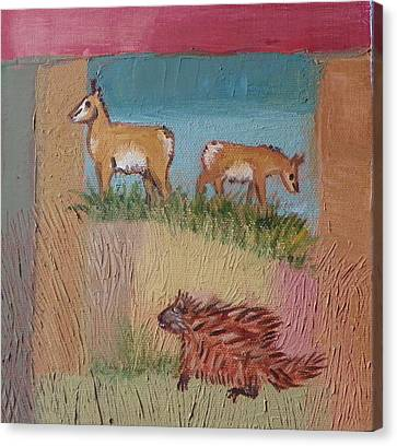 Pronghorn Antelope Canvas Print - P Is For Pronghorn And Porcupine Detail From Childhood Quilt Painting by Dawn Senior-Trask