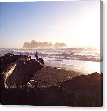 Pacific Ocean Sunsest Walk Canvas Print by Christine Burdine