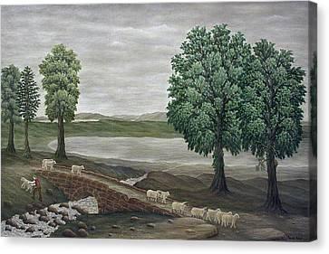 Pack Horse Bridge - Lake District Canvas Print by Ronald Haber