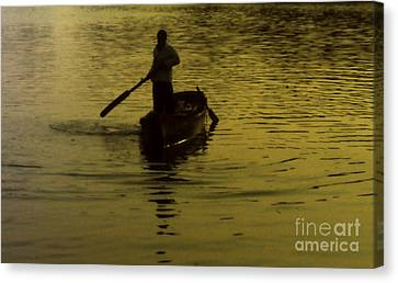 Canvas Print featuring the photograph Paddle Boy by Lydia Holly