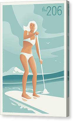 Paddleboarding Seattle Canvas Print by Mitch Frey