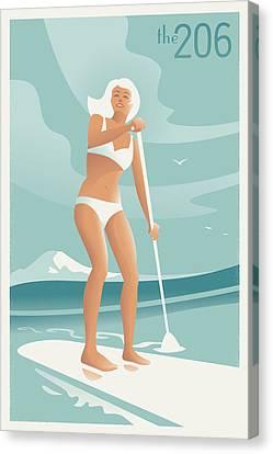 Bikini Canvas Print - Paddleboarding Seattle by Mitch Frey