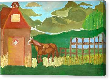 Paint Pony At Red Schoolhouse Canvas Print by Shannon SmithCumiford