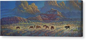 Canvas Print featuring the painting Painted Desert Painted Horses by Rob Corsetti