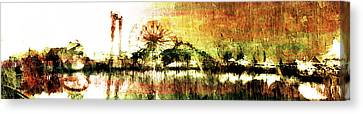 Canvas Print featuring the digital art Painted Nightlife by Andrea Barbieri