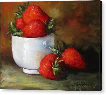 Painting Of Red Strawberries In Rice Bowl Canvas Print by Cheri Wollenberg