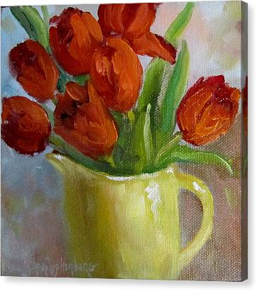 Painting Of Red Tulips Canvas Print by Cheri Wollenberg