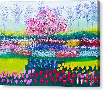 Painting Of Tulip Flowers Field And Tree Canvas Print by Mongkol Chakritthakool