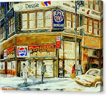 Paintings Of Montreal Streets Downtown Restaurants Rue Ste. Catherine City Scene Canvas Print by Carole Spandau
