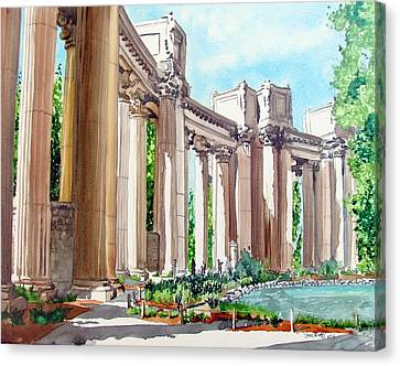 Canvas Print featuring the painting Palace Of Fine Arts by Tom Riggs