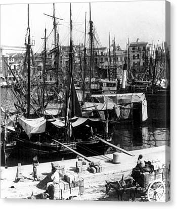 Palermo Sicily - Shipping Scene At The Harbor Canvas Print by International  Images