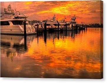 Palm Beach Harbor Glow Canvas Print by Debra and Dave Vanderlaan