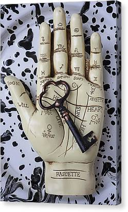 Life Line Canvas Print - Palm Reading Hand And Key by Garry Gay