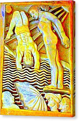 Palm Springs Swimmer Mural Canvas Print by Randall Weidner