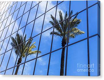 Palm Trees Reflection On Glass Office Building Canvas Print by Paul Velgos