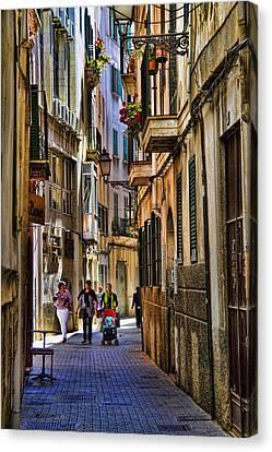 Palma Mallorca Street Scene Canvas Print by David Smith