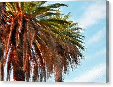Palms A'glo Canvas Print by Gwyn Newcombe