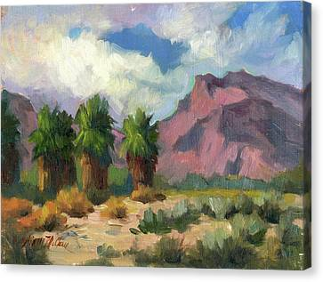 Palms And Indian Head Mountain Canvas Print by Diane McClary