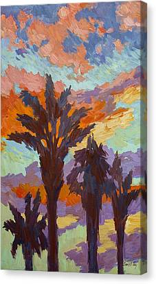 Spring Scenes Canvas Print - Palms And Sunrise by Diane McClary
