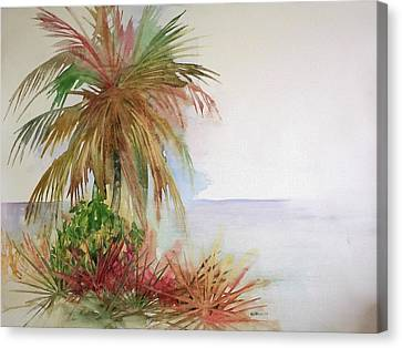 Canvas Print featuring the painting Palms On Beach II by Richard Willows