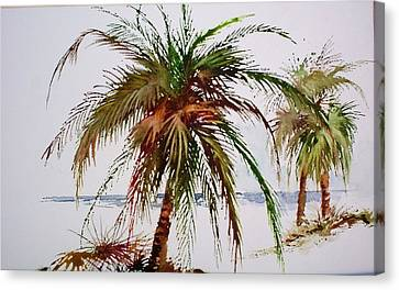 Canvas Print featuring the painting Palms On Beach by Richard Willows