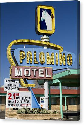 Palomino Motel Route 66 Canvas Print by Carol Leigh