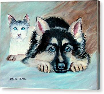 Pals Canvas Print by Fram Cama