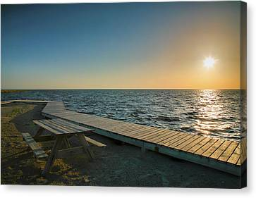 Pamlico Sound And Boardwalk I Canvas Print by Steven Ainsworth