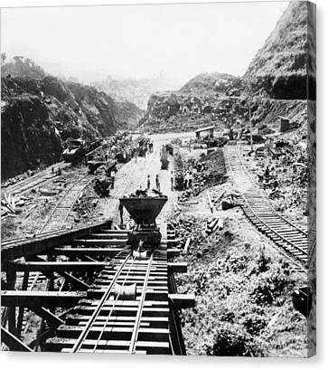 Panama Canal - Construction At The Culebra Cut - C 1910 Canvas Print