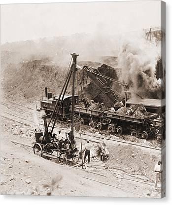 Panama Canal Construction. A Steam Canvas Print